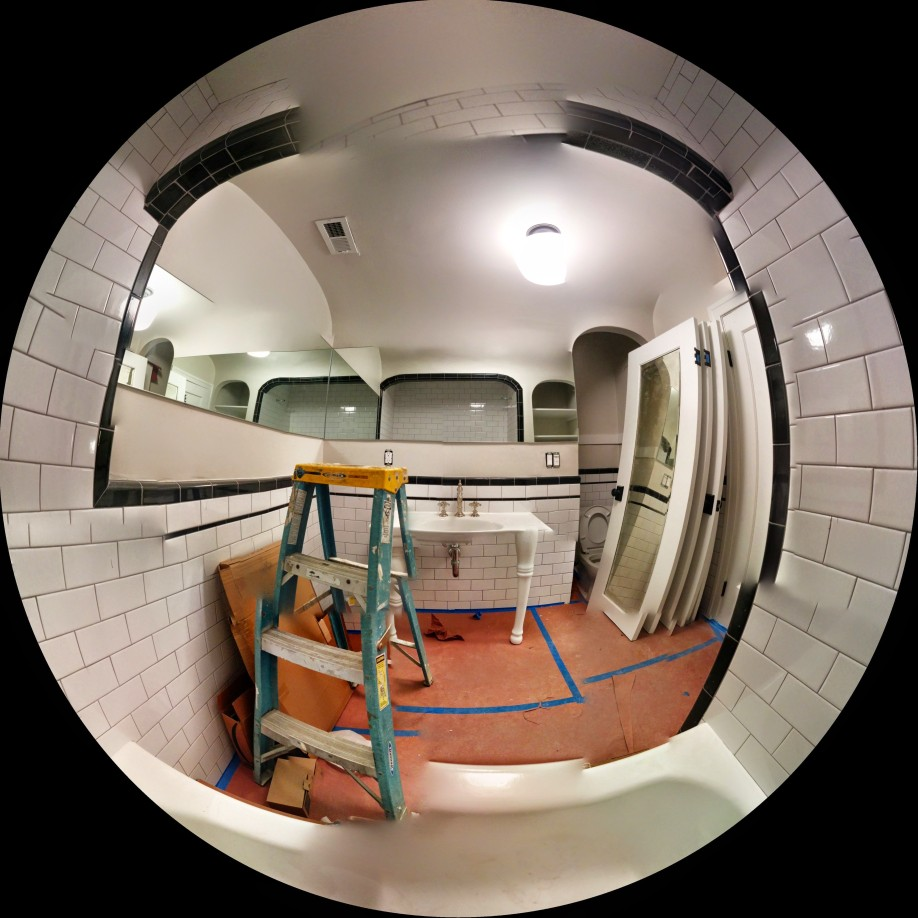Fisheye view of the bathroom where the young Bukowski was abused.