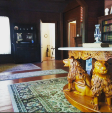 Replica of Mme. Modjeska's lost lion table crafted by her great-great granddaughter, Betsy Chronic.