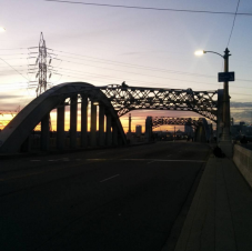 Sixth Street Bridge as night falls