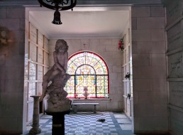 Oak Grove Cemetery mausoleum stained glass and statue