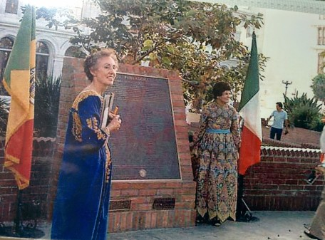 Jean Bruce Poole & Miriam Matthews in El Pueblo in 1983 at the dedication for the plaque commemorating the original settlers of Los Angeles in 1781.