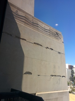 Broken masonry visible from the Norman Chandler Pavilion