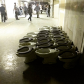 Vintage toilets await future duties in the depth of the Subway Terminal Building.