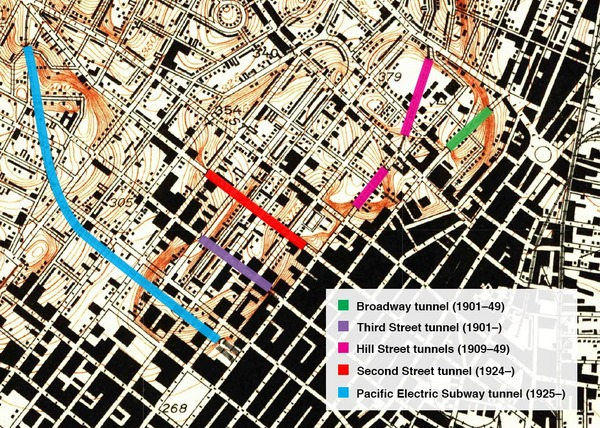 Map of Tunnels in Dowtown Los Angeles from mid 1930s Esotouric