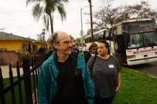 Author, Brad Schreiber, disembarking from the bus on his tour, 48 Hours In South LA.