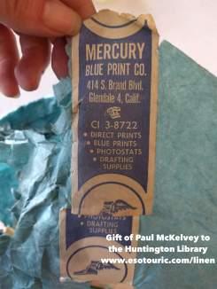 Vintage Mercury Blue Print Company tape